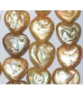 Perla Corazón Amarilla 13-14mm.-Hilo 40cm.-Ref.5443
