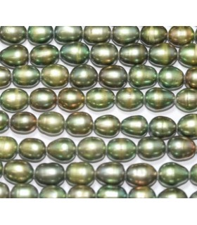Perla Oval Verde 7x5mm.-Hilo 40cm.-Ref.3872