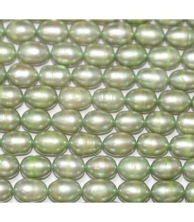 Perla Oval Verde 7x5mm.-Hilo 40cm.-Ref.3875