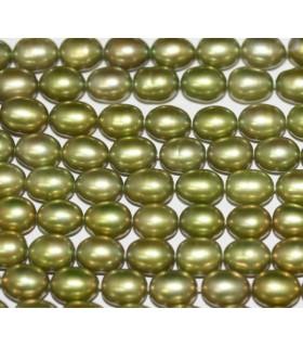Perla Oval Verde Pistacho 7x5mm.-Hilo 40cm.-Ref.3866