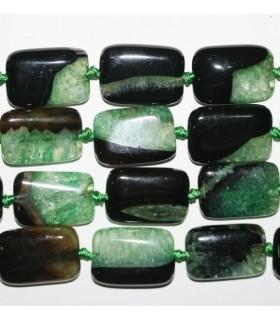 Agata Negra-Verde Rectangular Lisa 25x17mm.-Hilo 40cm.-Ref.8037