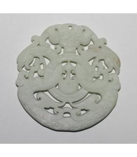 Colgante Asiatico De Jade Blanco 70mm.-Ref.862JB
