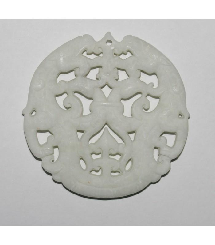 Colgante Asiatico De Jade Blanco 70mm.-Ref.863JB
