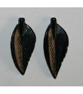 Colgante Asiatico De Jade Negro ( 1 Par ) 42x18mm.-Ref.847JN