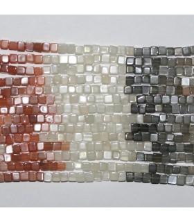 Piedra Luna Multicolor Cubo Liso 4mm,.Hilo 40cm.-Ref.8520