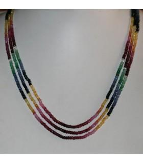 Collar Rubi-Zafiro-Esmeralda ( 3 Hilos ) Rodaja Facetada 3.5x2mm.-Ref.8588