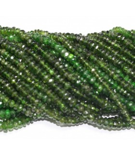 Chrome Diopside Faceted Rondelle 3x1.5mm.Strand 37cm.-Item.3736