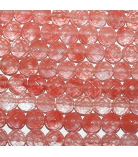 Cherry Quartz Faceted Round Beads 8mm.-Strand 40cm.-Item.7576