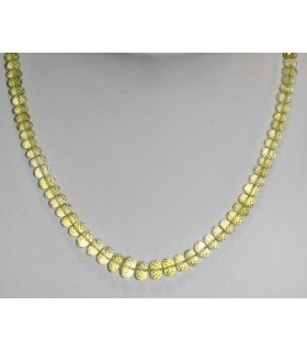 Lemond Quartz Faceted Graduated Rondelle Necklace 5x3 - 9x6mm.-Long 44cm.-Item.7342