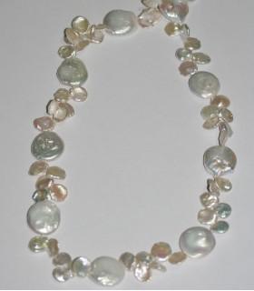 Collar Perla Moneda 20mm-Keshi 12mm.-Largo 85mm.-Ref.8669
