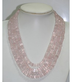 Collar Cuarzo rosa Rodaja Facetada En Degrade 7x4-9x5mm. ( 4 Hilos ) Ref.6260
