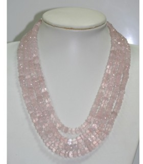 Collar Cuarzo rosa Rodaja Facetada En Degrade 7x4-9x5mm. ( 4 Hilos ) Ref.6262