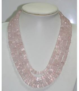 Collar Cuarzo rosa Rodaja Facetada En Degrade 7x4-9x5mm. ( 4 Hilos ) Ref.6263