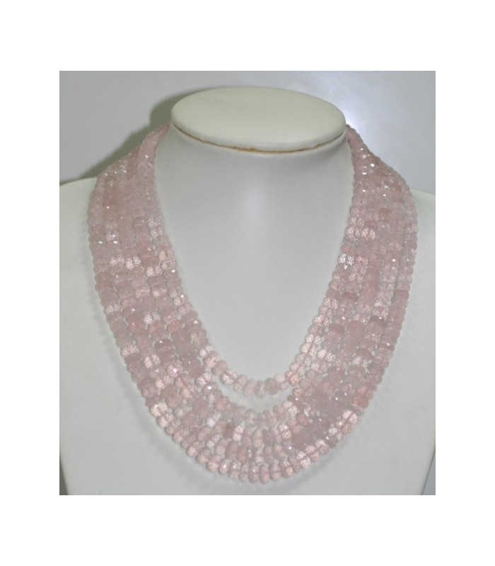 Collar Cuarzo rosa Rodaja Facetada En Degrade 7x4-9x5mm. ( 5 Hilos ) Ref.6261