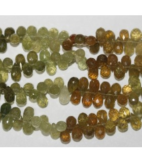 Grossular Garnet Faceted Drop 7x4mm.-Strand 20cm.-Item.6126