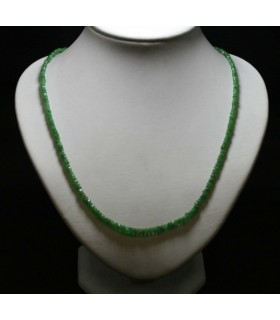 Tsavorite Garnet Graduated Faceted Rondelle Necklace 3x2-5x3mm.-Item.5076