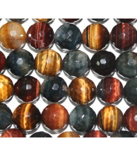 Tiger-Ox-Hawk Eye Faceted Round Beads 10mm.-Strand 38cm.-Item.5282
