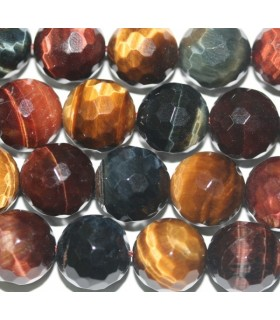 Tiger-Ox-Hawk Eye Faceted Round Beads 12mm. Strand 40cm.-Item.4448