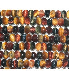 Tiger-Ox-Hawk Eye Faceted Rondelle 4x2mm.-Strand 40cm.-Item.4774