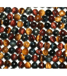Tiger-Ox-Hawk Eye Faceted Round Beads 6mm.-Strand 40cm.-Item.6833