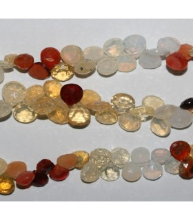 Fire Opal Faceted Drop 9-10mm.-Strand 20cm.-Item.7252