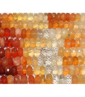 Fire Opal Faceted Rondelle 7x4mm.-Strand 37cm.-Item.4897