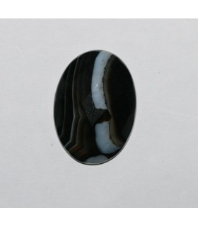 Cabujón Onix Bandeado Oval Facetado ( 2 Piezas ) 25x18mm.-Ref.342CB
