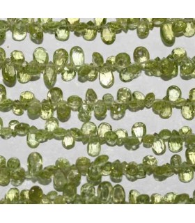 Peridot Faceted Drop Side Drilled 6x4mm -Strand 20cm- Item.2720