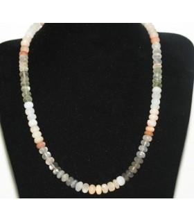 Collar Piedra Luna Multicolor Rodaja Facetada 8x5mm.- 42cm.-Ref.6258