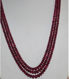 Collar Turmalina Rosa ( 3 Hilos ) Rodaja Lisa En Degrade 4x2.5 - 7x5mm.( 331 CT )-Ref.7277