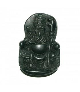 Colganta Asiatico De Jade Negro 47x33mm.-Ref.724JN