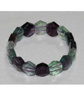 Multicolor Fluorite Faceted Hexagon Bracelet 14x12mm. -Item.1942