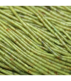 Jade Verde Tubo Liso 3x1.5mm.-Hilo 40cm.-Ref.7607