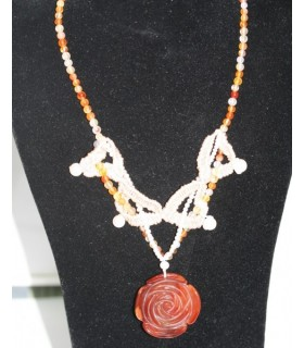 Collar Carneola Flor y Perla Ref.6057