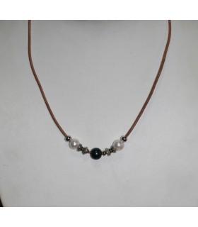 Collar Cuero Marrón Con Perlas Y Plata Largo 48cm.-Ref.7373