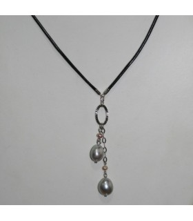 Collar Cuero Negro Con Perlas Y Plata Largo 50cm.-Ref.7371