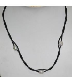 Collar Cuero Negro Con Perlas Y Plata Largo 55cm.-Ref.7369