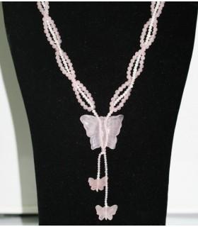 Collar Mariposa Cuarzo Rosa y Perlas Ref.6060