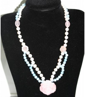 Collar Pelas-Aguamarina Con Flores En cuarzo Rosa Ref.6059