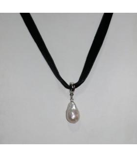 Collar Terciopelo Negro Con Perla Y Plata Largo 43cm.-Ref.7368