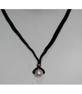 Collar Terciopelo Negro Con Perla Y Plata Largo 45cm.-Ref.7367