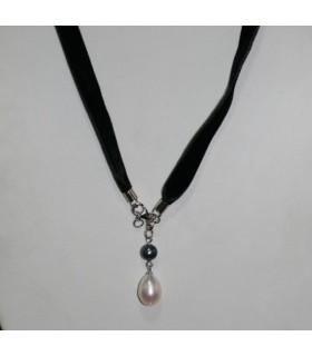 Collar Terciopelo Negro Con Perla Y Plata Largo 50cm.-Ref.7365