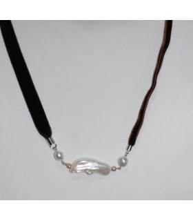 Collar Terciopelo Negro Y Marrón Con Perla Y Plata Largo 50cm.-Ref.7366