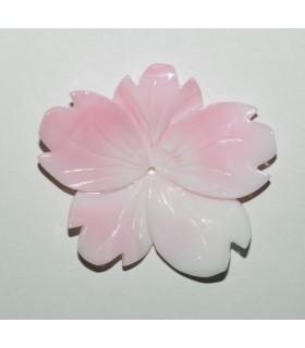 Colgante Concha Rosa Natural Hoja 37-40mm.Aprox.-Ref.8861