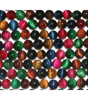 Ojo De Trigre Multicolor bola Lisa 8mm.-Hilo 40cm.-Ref.5781