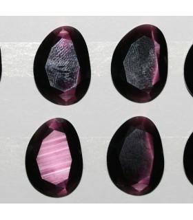 Cartón Ojo De Gato Rosa Oval Facetado Sintetico 20x15mm.-( 6 Piezas )-Ref.7382