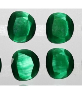 Cartón Ojo De Gato Verde Oval Facetado Sintetico 23x25mm.-( 4 Piezas )-Ref.7387