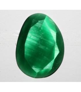 Cartón Ojo De Gato Verde Oval Facetado Sintetico 40x30mm.-( 2 Piezas )-Ref.7392