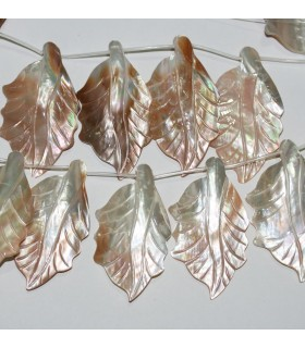 MOP Leaf 66x37mm.Approx.-Strand 35mm.-Item.9126
