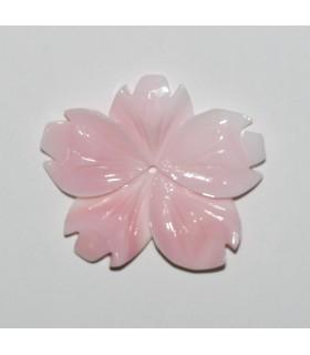 Colgante Concha Rosa Natural Hoja 30-32mm.Aprox.-Ref.9264